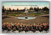 Spokane WA Manito Park Fountain Sunken Garden Vintage Washington c1923 Postcard