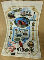NEW Vintage Kay Dee State of Ohio Linen Dish Tea Towel Souvenir Original Sticker