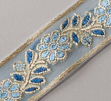 Shades of Blue Jacquard, Organza, Ribbon Trim. Metallic Gold Sewing Craft DIY