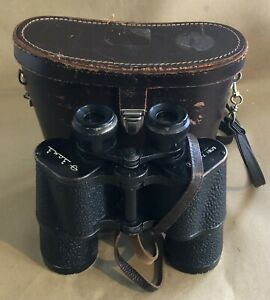 VINTAGE LEATHER CASED 7 x 50 CCCP USSR RUSSIAN BINOCULARS