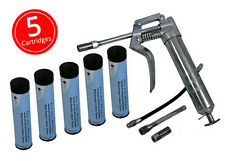 PISTOL GRIP ONE HANDED GREASE GUN WITH 5 X GREAS CARTRIDGES GREASING LUBE