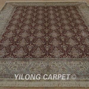 YILONG 8'x10' Hand Knotted Silk Area Rug All-over Living Room Carpet 0938