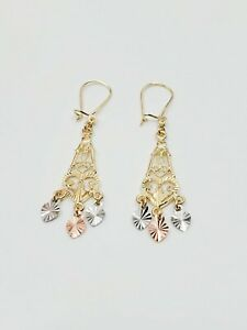 10K Gold Filigree Chandelier Earrings
