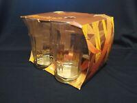 Libbey Bamboo Tiki Bar Clear Glasses Bar Flat Tumblers Set Of 4
