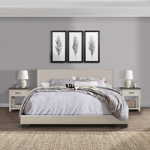 Willow Nailhead Trim Upholstered King Bed, Fog, by Hillsdale Living Essentials