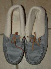 CLEARANCE Blue Sz 9 Faux Fur Lined Rubber Sole Suede Moccasin Slippers OLD NAVY