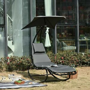 Patio Rocking Chaise Lounge Rocking Bed with Canopy Cushion Headrest Pillow
