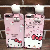 3D Girl's Cute Cartoon Hello Kitty Soft Back Case Cover for iPhone 6 6S 7 Plus