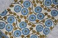 Indian Hand Block Cotton Fabric Natural New Print Handmade Sanganeri 2.5 Yard .*