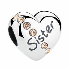 💖💖 Sister Love Heart Family Charm Bead Genuine S925 Sterling Silver 💖💖