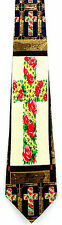 Flower Cross Mens Neck Tie Religious Blue Necktie Christian Jesus Easter New