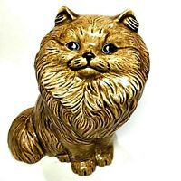 "Vintage Ceramic Brown Persian Cat Figurine Kitten Kitty ~8"" x ""6"" Art Project"