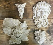Set of 4 Green Man Leaf Face Home Garden Wall Plaque Decor