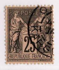 """FRANCE / ALGÉRIE - 189? CAD T.A """" ORAN / KARGUENTAH """" SUR N°97 25c noir/rose T.2"""