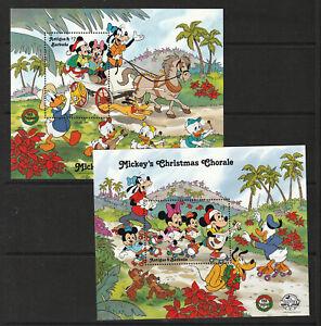 ANTIGUA 1988 X 2 M.S., MICKEY'S CHRISTMAS.  MINT