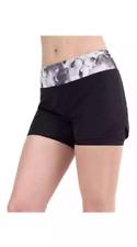 Mondetta Women's Active Short W/Spandex Liner, Black/Grey, Large, Floral Waist