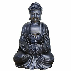 Small Indoor Buddha With Lotus Flower Water Fountain With LED Light. New