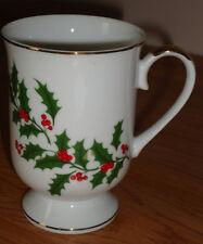 "HOLLY Christmas pedestal Mug ""All the Trimmings"" Japan"