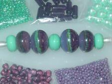 Aqua Purple Metal Change Glass Handmade Lampwork Crystal Seed Bead Lot 3938
