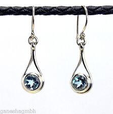 Zierliche Ohrringe / Ohrhänger aus Silber 925 mit echtem blauen Topas