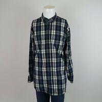 Schmidt Blue White Long Sleeve Button Front Cotton Plaid Casual Shirt Mens XLT