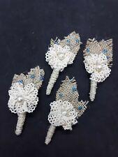 2 PCS Handmade NATURAL BURLAP BOUTONNIERES - Vintage Lace Blue Bead Pearl