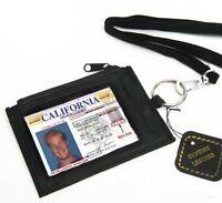 Black Leather ID Neck Strap Credit Card Holder Zip Money Key Ring Lanyard Wallet