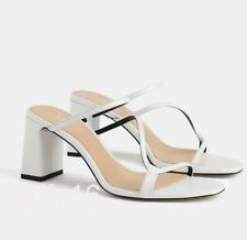 ZARA white heeled leather sandals with asymmetrical straps (size 41)