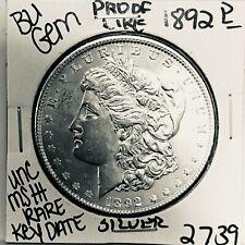 1892 P BU GEM MORGAN SILVER DOLLAR UNC-MS++U.S. MINT RARE KEY COIN 2739