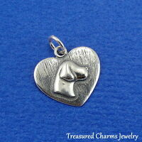 .925 Sterling Silver PUPPY DOG HEART Tag CHARM PENDANT