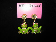 BETSEY JOHNSON RARE GREEN FROG WITH CROWN AND CHECKERED FLOWER EARRINGS