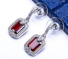 BREATHTAKING! Garnet & White Topaz DANGLE DROP .925 Sterling Silver Earrings