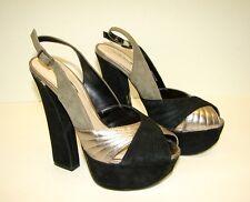 8794d213601d H By HALSTON Shoes Open Toe Platform High Heels Black Silver Leather Sz 7