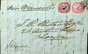 EAST INDIA 1859 QV 8as PAIR 16 AS AS RATE ON EL VIA MARSEILLES TO UK