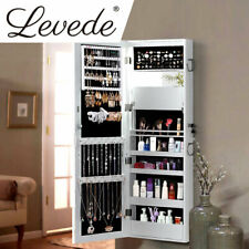 Levede Wall Mounted or Hang Over Mirror Jewellery Cabinet in White Colour