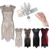 1920's Flapper Dress Great Gatsby Sequins Fringe Tassels Vintage Party Dresses