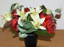 ARTIFICIAL FLOWERSIN A GRAVE MEMORIAL POT TIGER LILYS & RED ROSES RIGHT PRICE