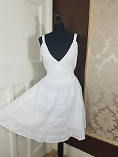 White Summer Sleeveless Boho Midi Dress V Neckline Self Embossed Lined Cotton