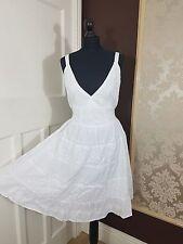 White Summer Sleeveless Boho Midi Dress V Neckline Self Embossed Lined Cotton