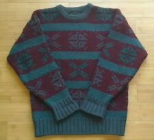 Vintage abercrombie and fitch wool and mohair sweater, teal and maroon, L