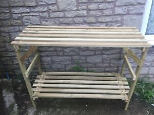 4ft solid wooden greenhouse bench/staging potting/storage 2 tier treated