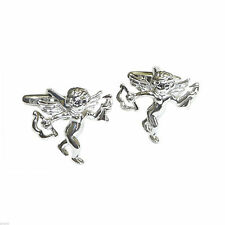 Rhodium Plated Cupid with His Bow and Arrow Cufflinks in a Cufflink Box X2N270