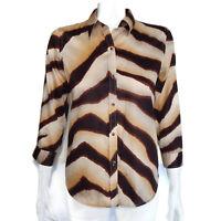 RALPH LAUREN Zebra Stripe Button Front Blouse Brown Tan LRL Cotton Top - XS 2096
