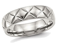 Mens or Laides Stainless Steel 6mm Diamond Cut Wedding Band with Ridge