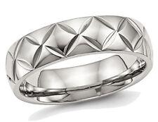 Para hombre o laides Acero Inoxidable 6mm Diamante Corte Anillo De Bodas Con Ridge