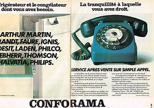 PUBLICITE ADVERTISING 025  1978  CONFORAMA ARTHUR MARTIN BRANDT (2p) réfrigérate