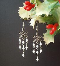 Pretty Winter Snowflake Dangly White Beads Drop Earrings - Christmas Yule Noel