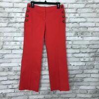 LOFT Womens 2P Zoe Trouser Sailor Pants Stretch Buttons Low Rise Wide Leg Orange
