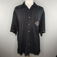 Vtg HARLEY DAVIDSON Men Motorcycles 2X Chrome Sweet Chrome Collar Silk Shirt