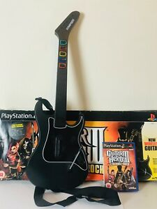 Boxed Playstation 2 PS2 Wirelless Guitar Hero Controller & Strap with Game